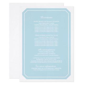 Cartão de informação simplesmente elegante do azul convite 11.30 x 15.87cm
