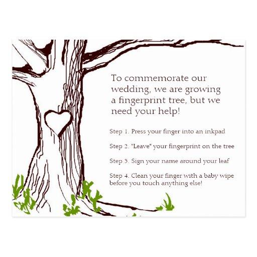 Cartão de instrução da árvore da impressão digital cartões postais