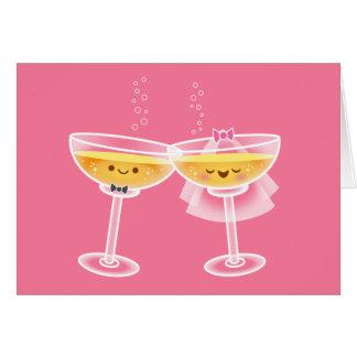 Cartão de Kawaii Champagne