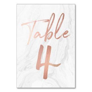Cartão de mármore e cor-de-rosa 4 do número da