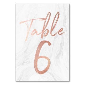 Cartão de mármore e cor-de-rosa 6 do número da