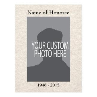Cartão de memórias da cerimonia comemorativa com cartão postal