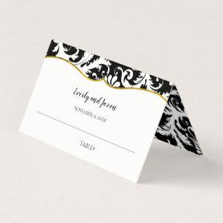 Cartão De Mesa Casamento preto e branco da guarnição do ouro do