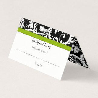 Cartão De Mesa Casamento preto e branco da guarnição do verde do