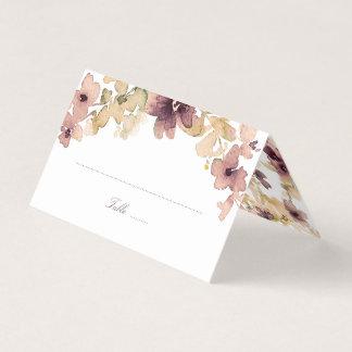 Cartão De Mesa Malva e casamento vintage floral da aguarela do