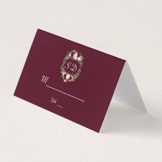 Cartão De Mesa Número floral rústico da mesa de Borgonha da