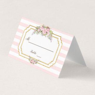 Cartão De Mesa Romântico cora o número floral da mesa das listras