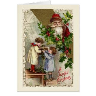 Cartão de Natal alegre de Papai Noel do vintage