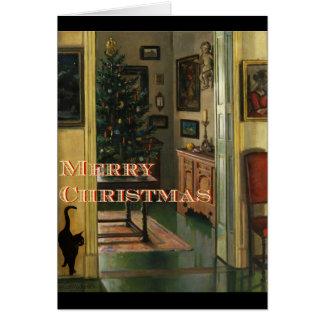 Cartão de Natal antiquado com um gato preto