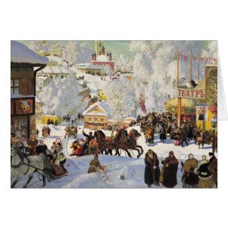Cartão de Natal da cena da neve do russo
