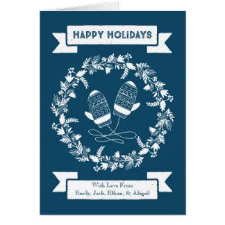 Cartão de Natal da grinalda dos mitenes do vintage