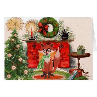 Cartão de Natal da lareira e do Fox