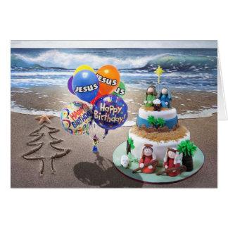 Cartão de Natal da praia, feliz aniversario Jesus