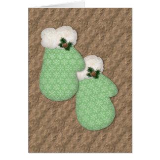 Cartão de Natal da visão dos mitenes verdes baixo