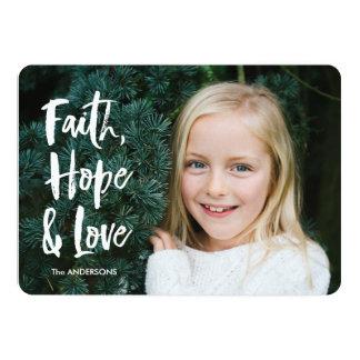 Cartão de Natal do amor da esperança da fé Convite 12.7 X 17.78cm