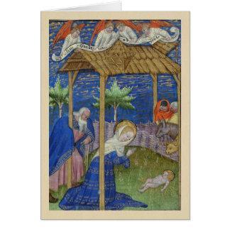 Cartão de Natal do manuscrito iluminado da