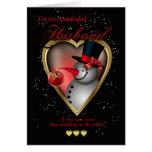 Cartão de Natal do marido - boneco de neve no cora