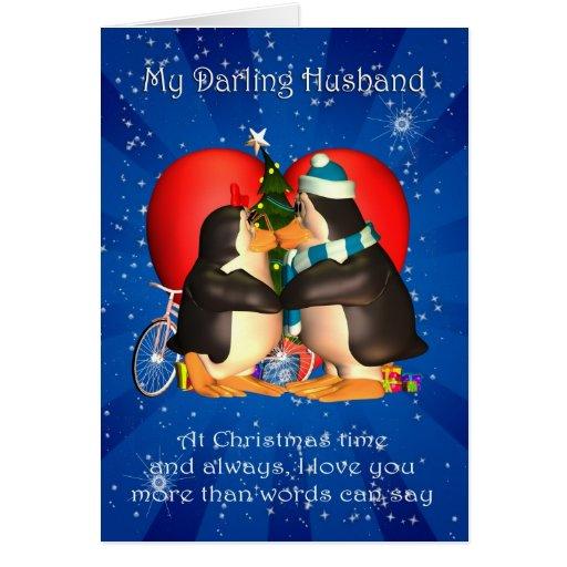 Cartão de Natal do marido com coração de beijo dos