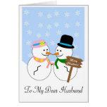 Cartão de Natal do marido do boneco de neve
