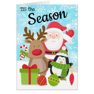 Cartão de Natal do papai noel, da rena e do