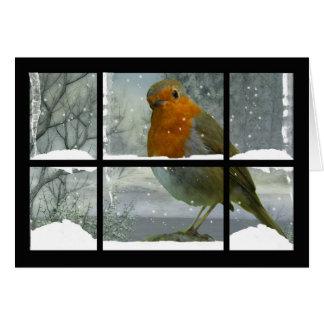 Cartão de Natal do pisco de peito vermelho com cen