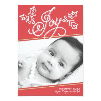 Cartão de Natal do vermelho | da alegria do Convite 12.7 X 17.78cm