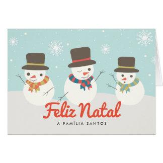 Cartão de Natal faz Boneco de Neve