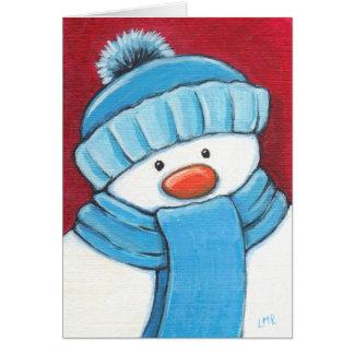 Cartão de Natal festivo do boneco de neve
