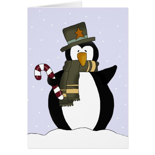Cartão de Natal festivo do pinguim