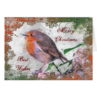 Cartão de Natal festivo do pisco de peito vermelho