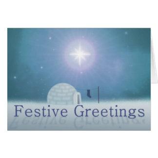 Cartão de Natal festivo dos cumprimentos