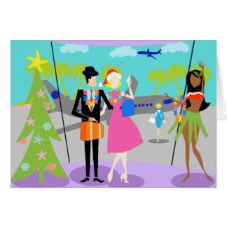 Cartão de Natal havaiano retro