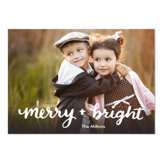 Cartão de Natal indicado por letras da mão alegre Convite 12.7 X 17.78cm