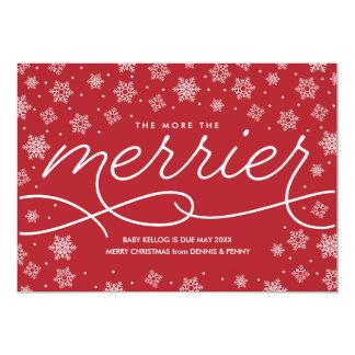 Cartão de Natal mais alegre do anúncio da gravidez Convite 12.7 X 17.78cm