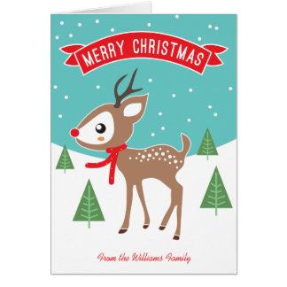 Cartão de Natal pequeno da rena