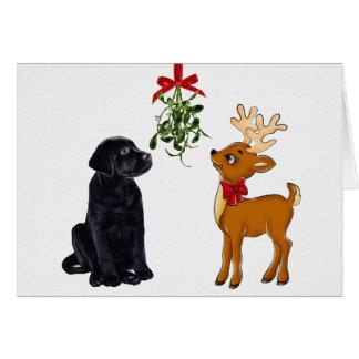 Cartão de Natal preto de Labrador