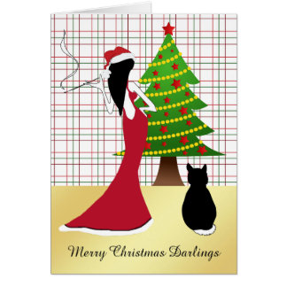 Cartão de Natal sofisticado com mulher