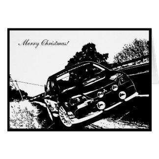 Cartão de Natal temático do carro de EVO IX