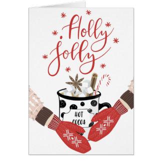 Cartão de Natal vermelho alegre do azevinho