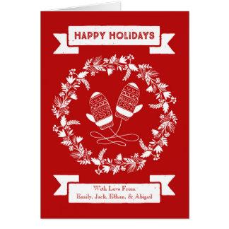 Cartão de Natal vermelho da grinalda dos mitenes