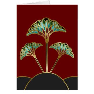 Cartão de nota com as folhas da nogueira-do-Japão