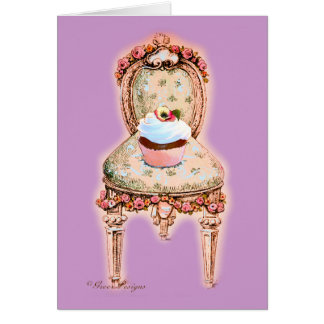 Cartão de nota da cadeira do cupcake & do Victoria