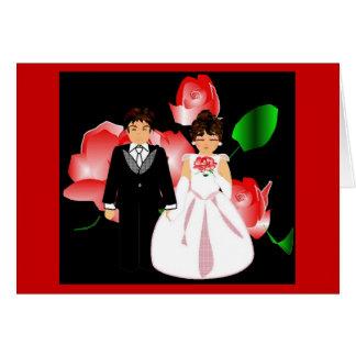 """Cartão de nota do casamento da """"rosa vermelha"""""""