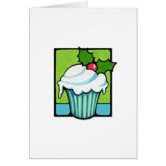 Cartão de nota do cupcake do azevinho do Natal