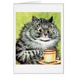Cartão de nota do gato do Teacup por Louis Wain