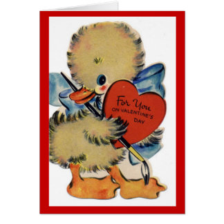 Cartão de nota do pato dos namorados do vintage