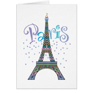 Cartão de nota dos confetes da torre Eiffel