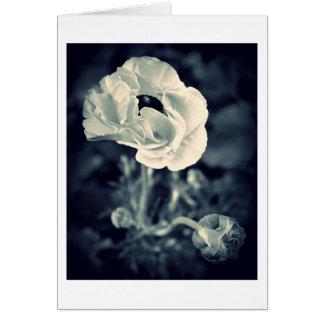 Cartão de nota floral, azul de índigo