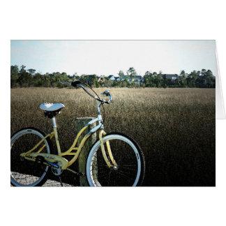 Cartão de nota litoral da bicicleta do vintage