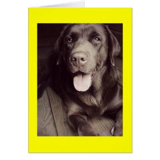 Cartão de nota preto e branco do cão de labrador